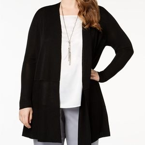 NWT! Anne Klein Plus Size Open Duster Cardigan Bla